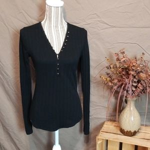 We The Free Black Henley w Accent Bronze Buttons